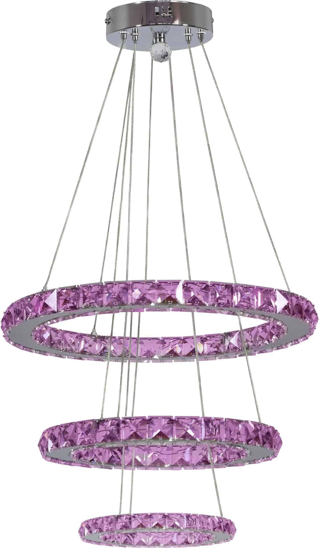 Pendul cristal LED Candellux Lords, 48W, crom-transparent, dimabil, telecomanda
