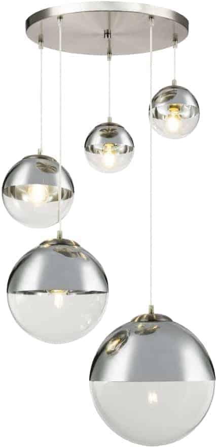 Pendul Globo Lighting Varus, 3xE27, crom-nichel satinat-transparent