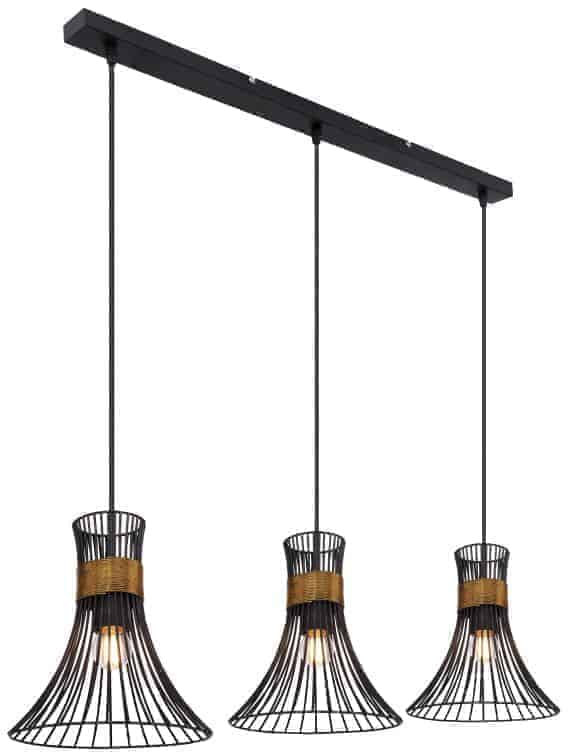 Pendul Globo Lighting Purra, 3xE27, auriu-negru