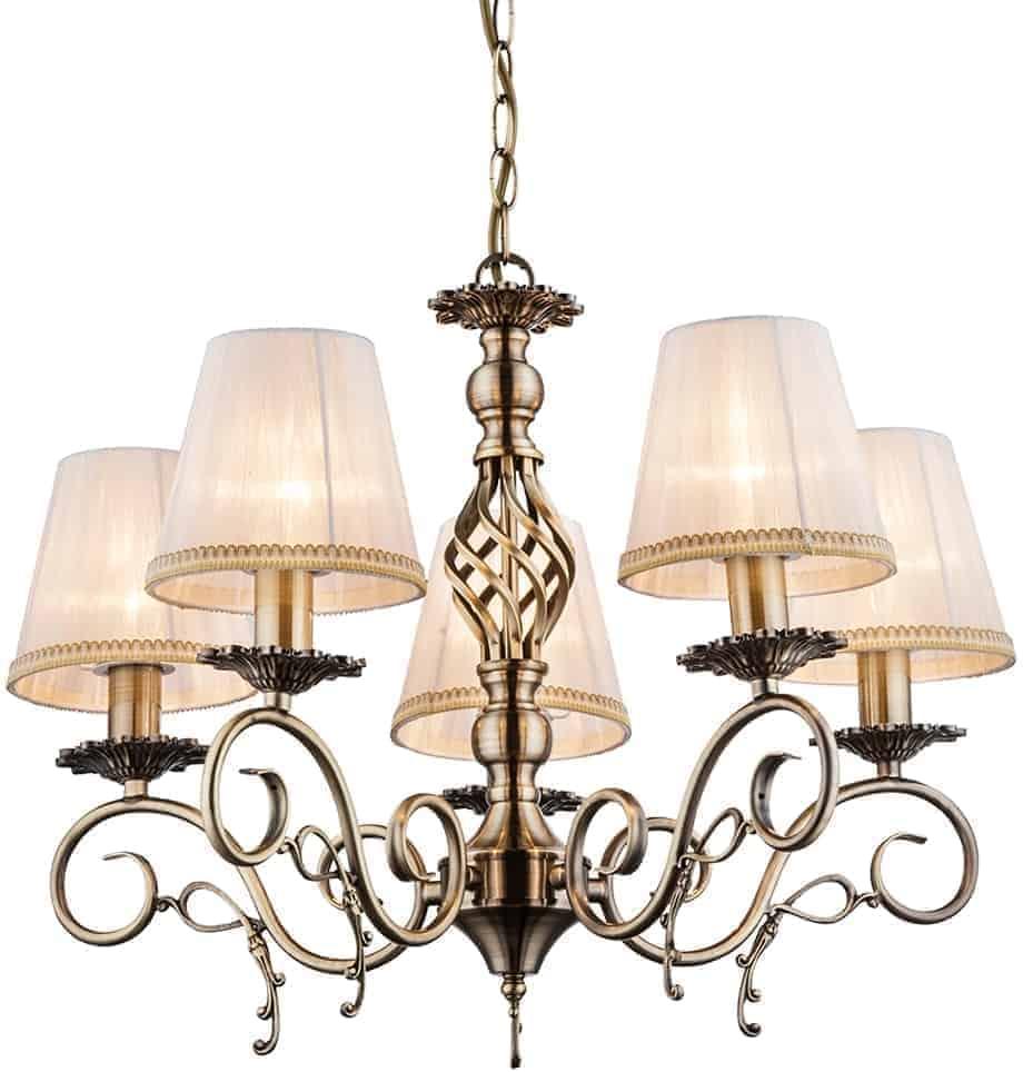 Lustra Globo Lighting Genoveva III, 5xE14, auriu-bej-bronz antic