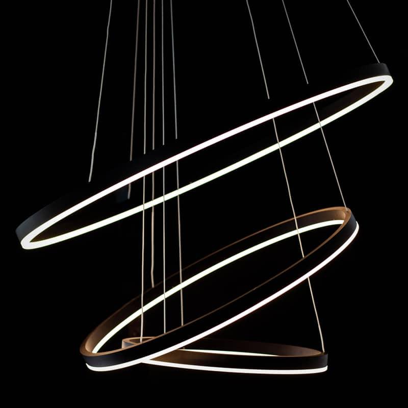 Pendul LED Kelektron Hoop, 110W, alb-negru