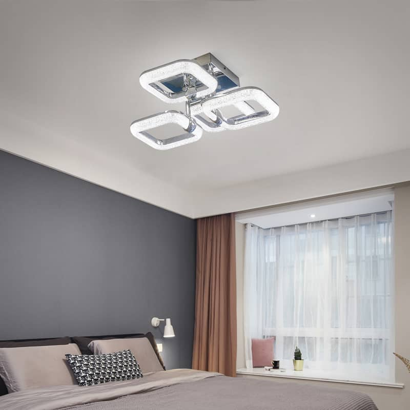 Plafoniera LED Kelektron Frame, 64W, crom, dimabil, telecomanda