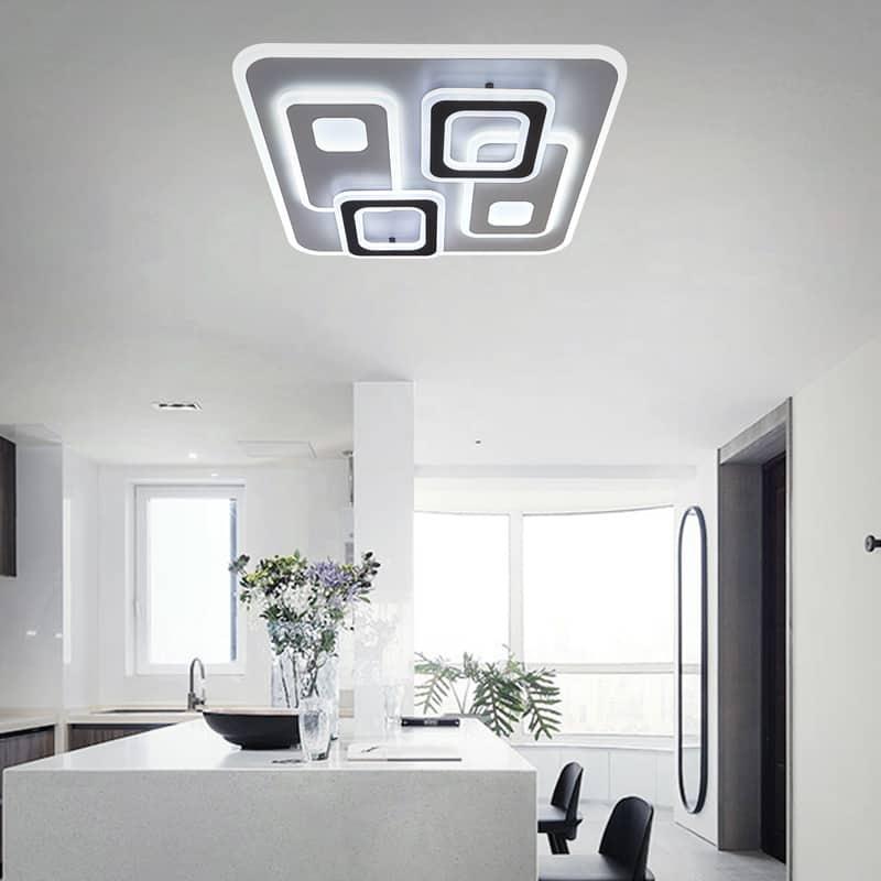 Plafoniera LED Kelektron Retro, 120W, alb-maro, dimabil, telecomanda