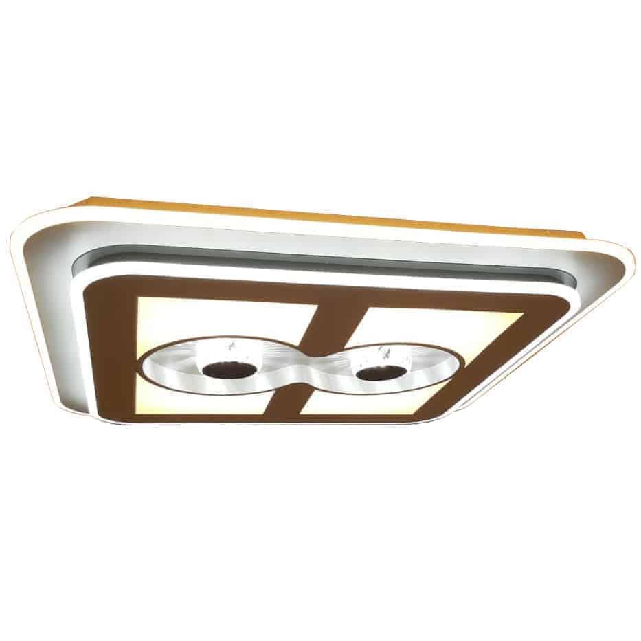 Plafoniera LED Kelektron Closer, 140W, alb-cafeniu, dimabil, telecomanda