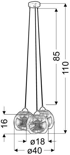 Pendul Candellux Trio, 3xE27, crom-negru