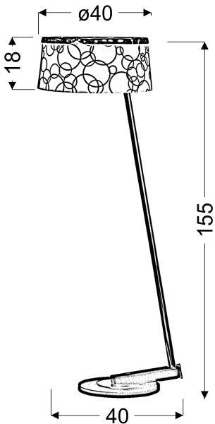 Lampadar Candellux Impresja, 1xE27, alb-crom-gri-negru