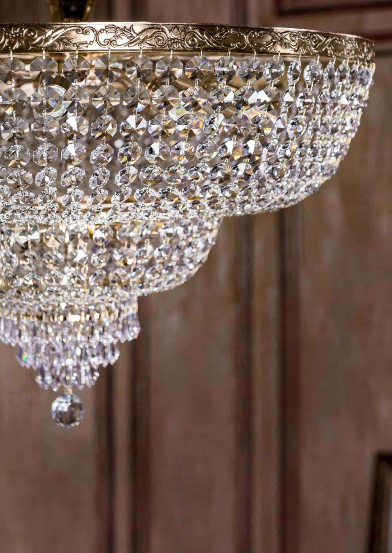 Plafoniera cristal Maytoni Palace, 18xE27, auriu-transparent