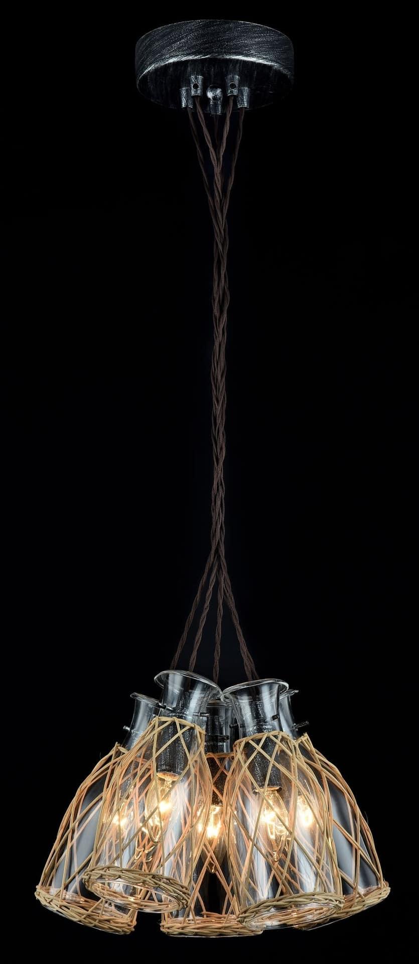 Pendul Maytoni Rappe, 5xE14, lemn natur-negru