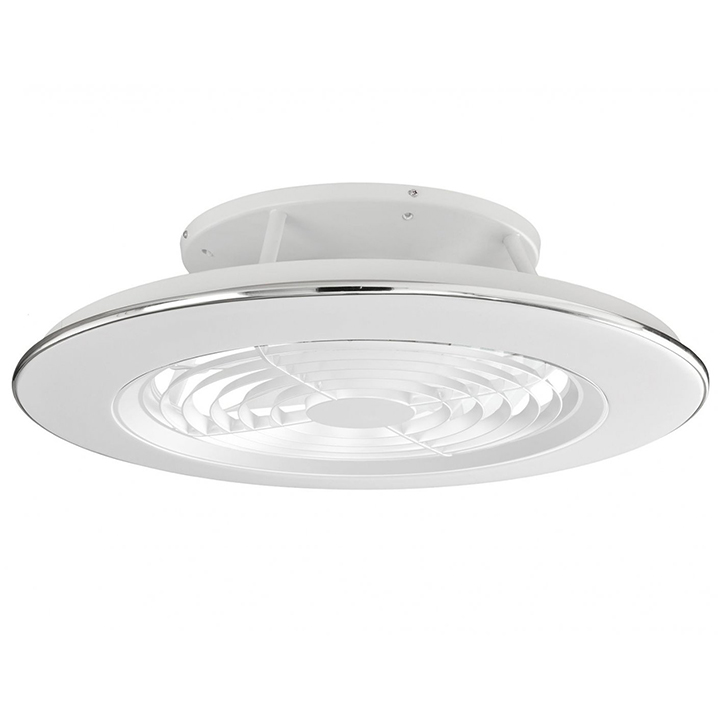 Plafoniera cu ventilator LED Mantra Alisio, 100W, alb-crom, dimabil, telecomanda, Smart control App
