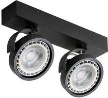 Spot mobil aplicat AZzardo Jerry 230V, 2xGU10, negru, rotund, IP20