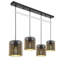 Pendul Globo Lighting Abini, 4xE27, negru mat-auriu mat