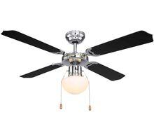 Plafoniera cu ventilator Globo Lighting Champion, 1xE27, crom-negru-opal