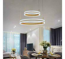 Pendul LED Kelektron Rings, 120W, alb-auriu