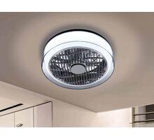 Plafoniera cu ventilator LED Schuller Wind, 24W, crom-fumuriu, dimabil, telecomanda