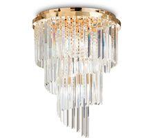 Lustra cristal Ideal Lux Carlton, 12xE14, auriu-transparent